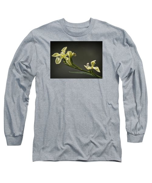 Yellow Iris Long Sleeve T-Shirt by Shirley Mitchell