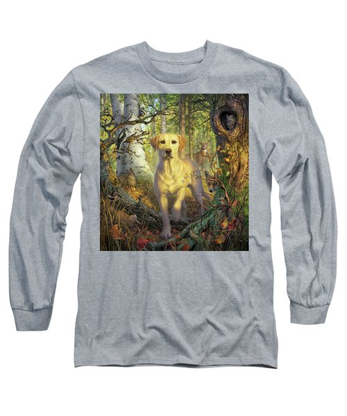 Yellow Lab In Fall Long Sleeve T-Shirt
