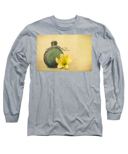 Yellow Lily And Green Bottle II Long Sleeve T-Shirt by Tom Mc Nemar