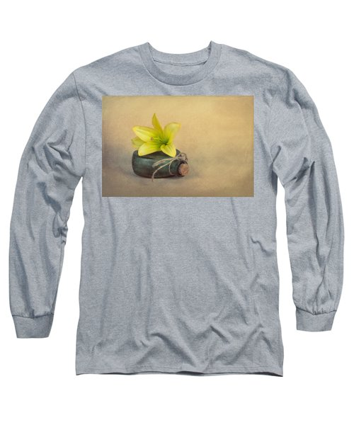 Long Sleeve T-Shirt featuring the photograph Yellow Lily And Green Bottle by Tom Mc Nemar