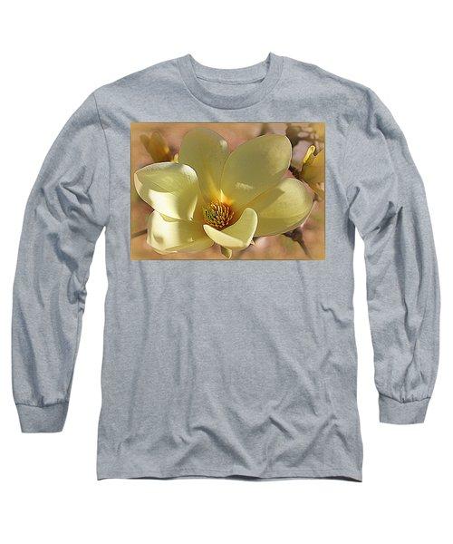 Yellow Magnolia In Full Bloom Long Sleeve T-Shirt
