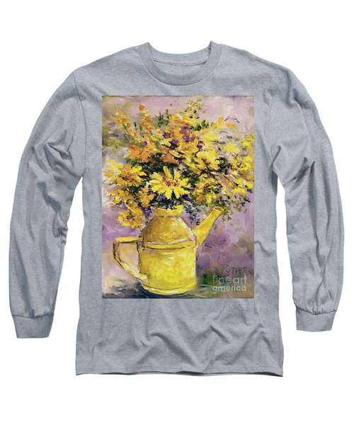 Yellow Pot Of Sunshine Long Sleeve T-Shirt