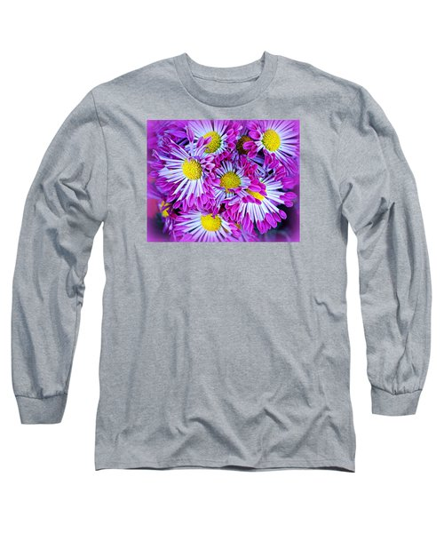 Yellow Purple And White Long Sleeve T-Shirt by AJ  Schibig