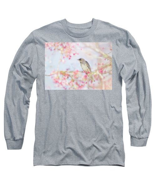 Yellow-rumped Warbler In Spring Blossoms Long Sleeve T-Shirt