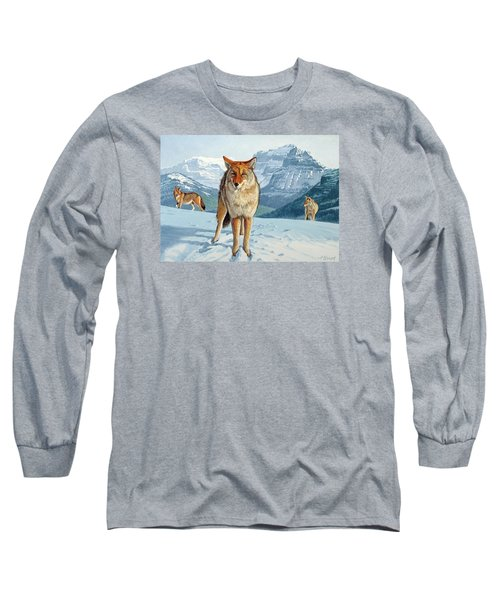 Yellowstone Coyotes Long Sleeve T-Shirt by Paul Krapf