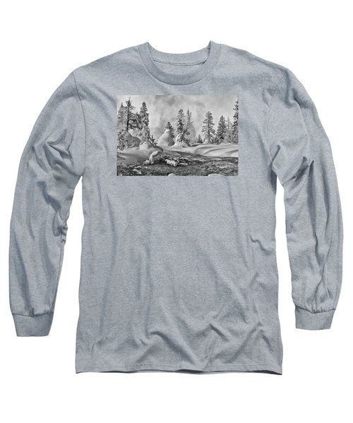 Long Sleeve T-Shirt featuring the photograph Yellowstone In Winter by Gary Lengyel