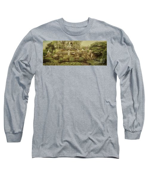 Long Sleeve T-Shirt featuring the photograph York House Gardens Statues - Twickenham by Leigh Kemp