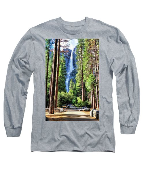 Long Sleeve T-Shirt featuring the painting Yosemite National Park Bridalveil Fall Trees by Christopher Arndt