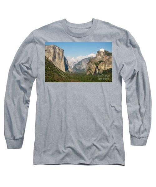 Yosemite Tunnel View With Bridalveil Rainbow By Michael Tidwell Long Sleeve T-Shirt
