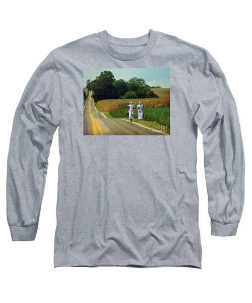 Young Amish Woman Barefoot Stroll Long Sleeve T-Shirt