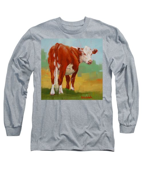 Long Sleeve T-Shirt featuring the painting Young Cow by Margaret Stockdale