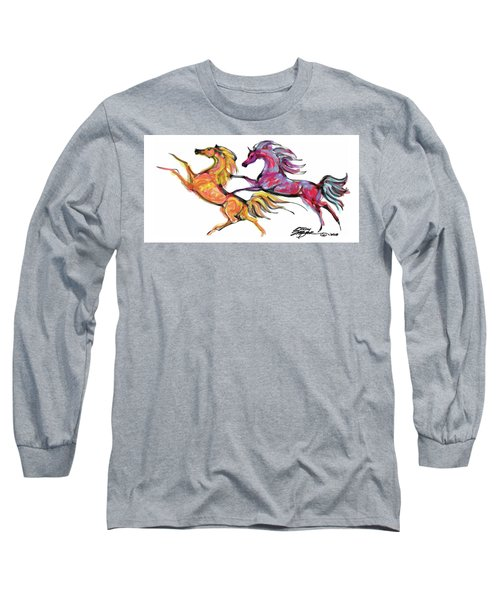 Young Horses Playing Long Sleeve T-Shirt