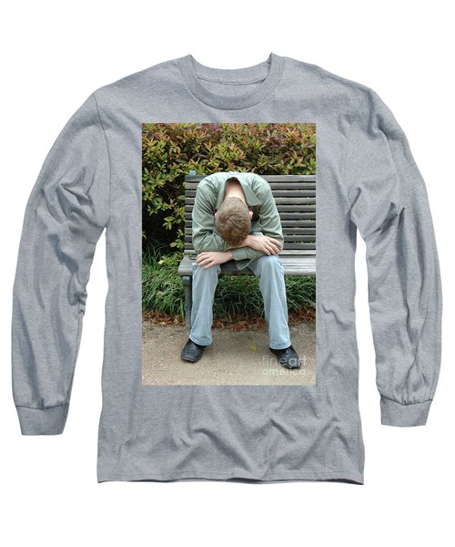 Young Man On Bench Long Sleeve T-Shirt