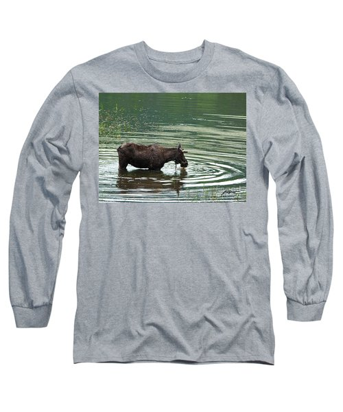 Young Moose In Pond Long Sleeve T-Shirt