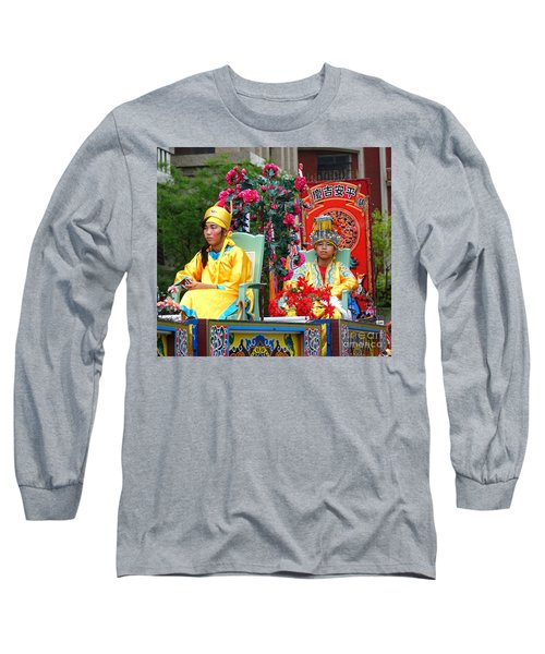 Long Sleeve T-Shirt featuring the photograph Young People Dreesed In Traditional Chinese Robes by Yali Shi