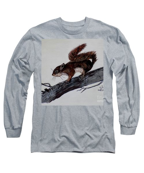 Long Sleeve T-Shirt featuring the painting Young Squirrel by Judy Kirouac