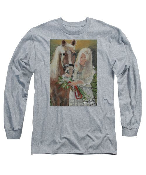 Young Woman With Horse Long Sleeve T-Shirt by Francine Heykoop