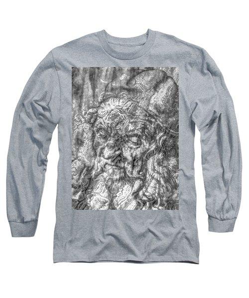 Long Sleeve T-Shirt featuring the mixed media Yury Bashkin   Known Head by Yury Bashkin