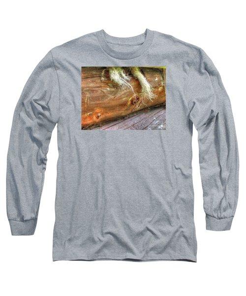Long Sleeve T-Shirt featuring the pyrography Yury Bashkin Rustic Wall by Yury Bashkin