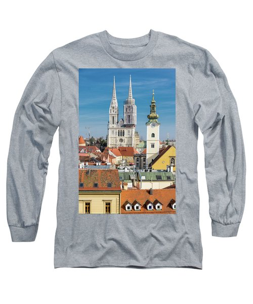Zagreb Cathedral And St. Mary's Church Long Sleeve T-Shirt by Steven Richman