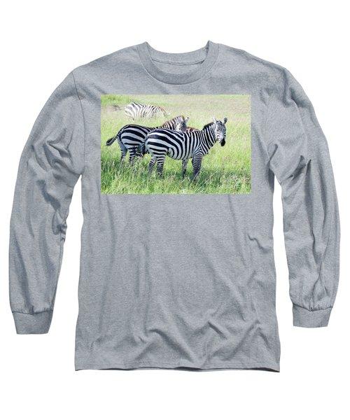 Zebras In Serengeti Long Sleeve T-Shirt by Pravine Chester