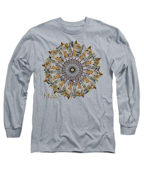 Zeerkl Of Music Long Sleeve T-Shirt by Edelberto Cabrera