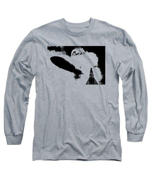 Zeppelin Hindenburg Explosion Graphic Long Sleeve T-Shirt