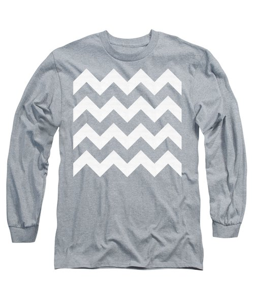 Long Sleeve T-Shirt featuring the digital art Zig Zag - White - Transparent by Chuck Staley
