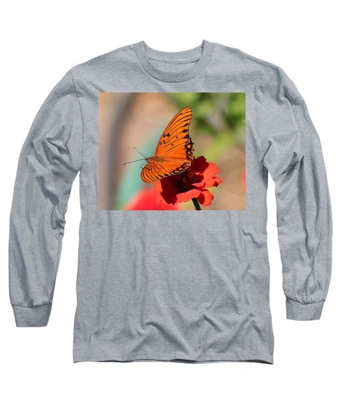 Zinnia With Butterfly 2669 Long Sleeve T-Shirt