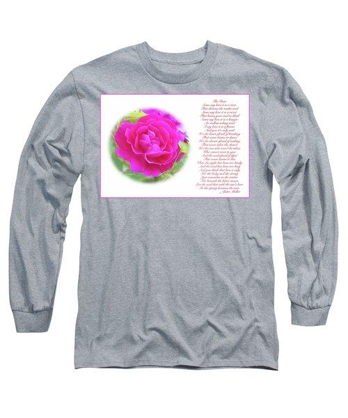 Pink Rose And Song Lyrics Long Sleeve T-Shirt