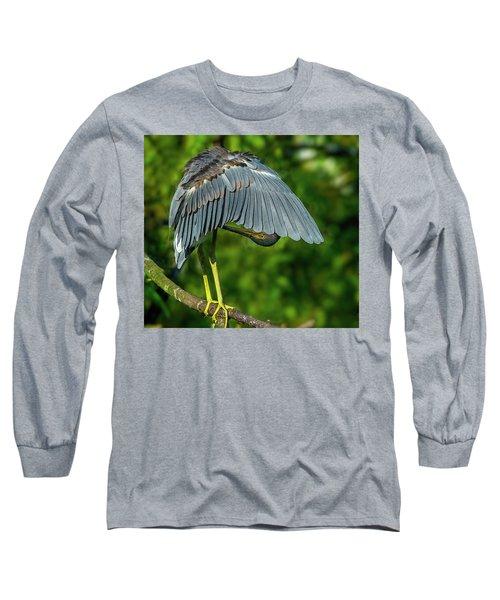 Preening Reddish Heron Long Sleeve T-Shirt