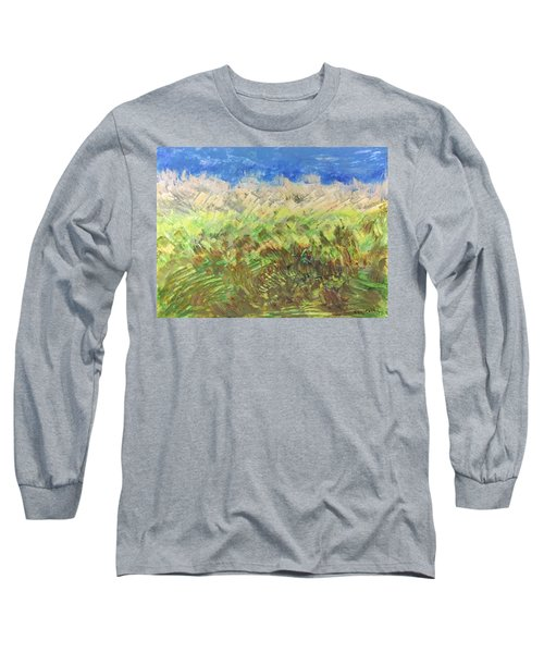 Long Sleeve T-Shirt featuring the painting Windy Fields by Norma Duch