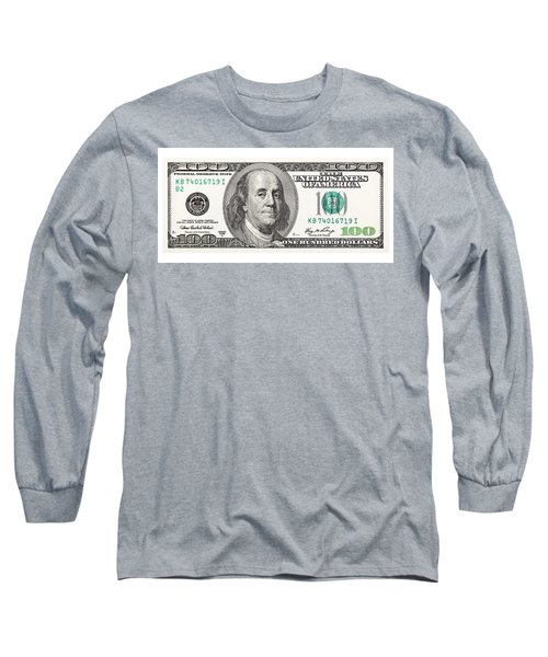 100 Dollar Bill, On A White Background. The Largest Denomination Long Sleeve T-Shirt