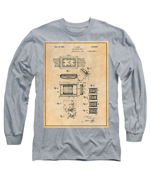 1930 Leon Hatot Self Winding Watch Patent Print Antique Paper Long Sleeve T-Shirt