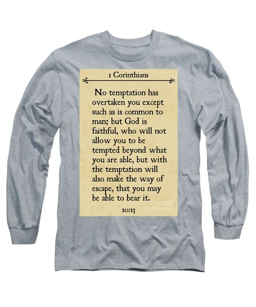 1 Corinthians 10 13- Inspirational Quotes Wall Art Collection Long Sleeve T-Shirt