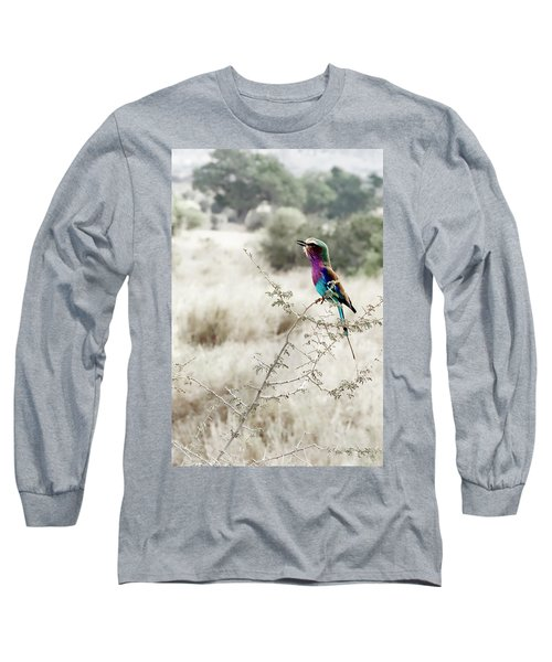 A Lilac Breasted Roller Sings, Desaturated Long Sleeve T-Shirt