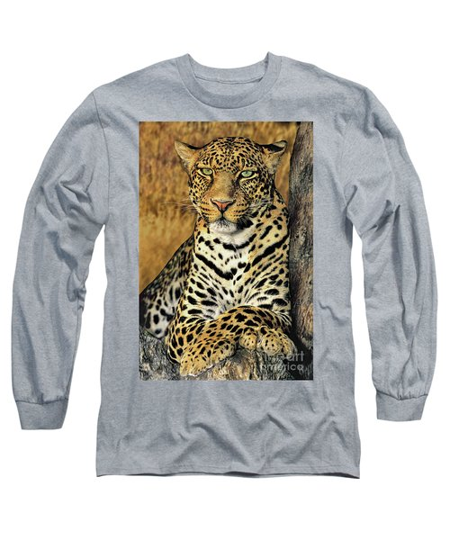 African Leopard Portrait Wildlife Rescue Long Sleeve T-Shirt