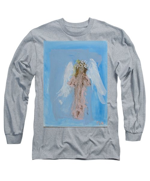 Angel With A Crown Of Daisies Long Sleeve T-Shirt