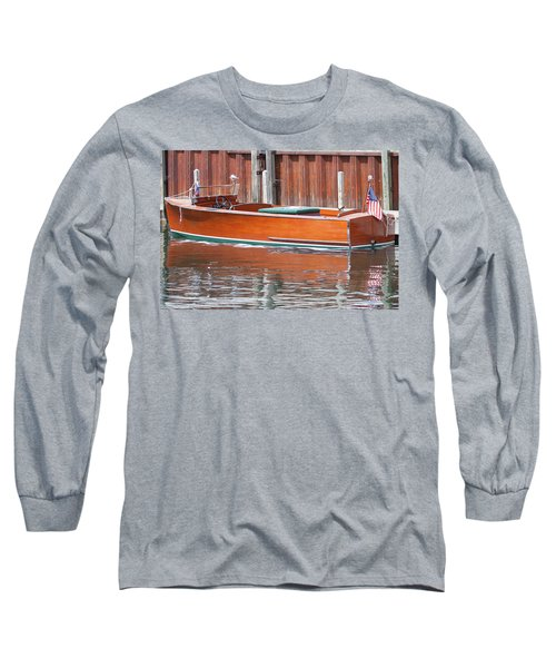 Antique Wooden Boat By Dock 1302 Long Sleeve T-Shirt