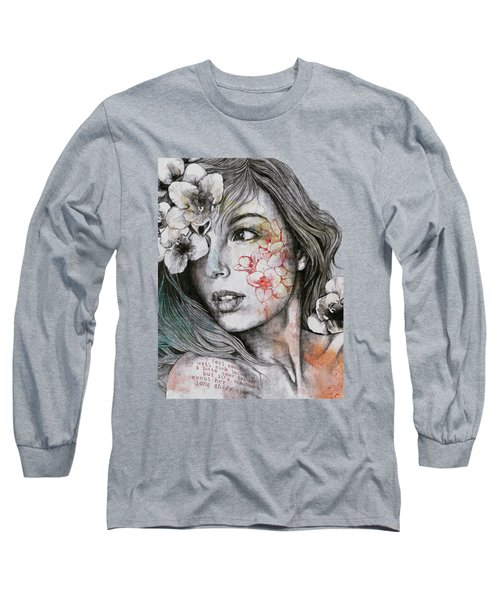 Mascara - Expressive Female Portrait With Freesias Long Sleeve T-Shirt