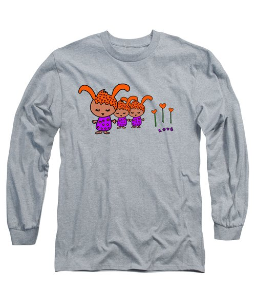 Cute Alien Family From The Love Planet Long Sleeve T-Shirt