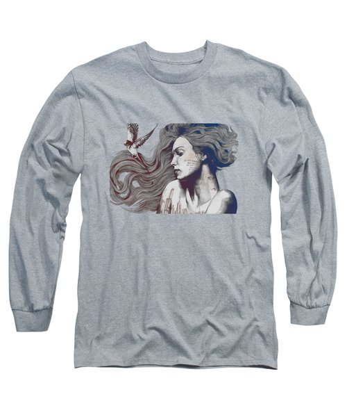 Monument - Red 'n Blue - Sleeping Beauty, Woman With Skyline Tattoo And Bird Long Sleeve T-Shirt