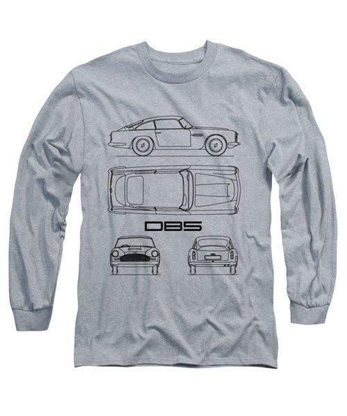 Aston Db5 Blueprint Long Sleeve T-Shirt