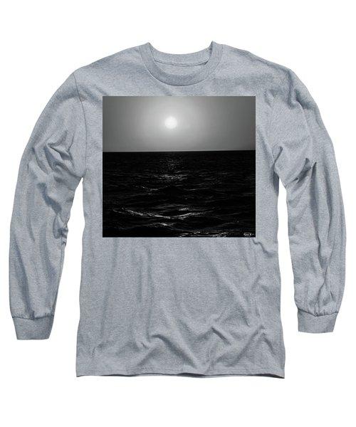 Aruba Sunset In Black And White Long Sleeve T-Shirt