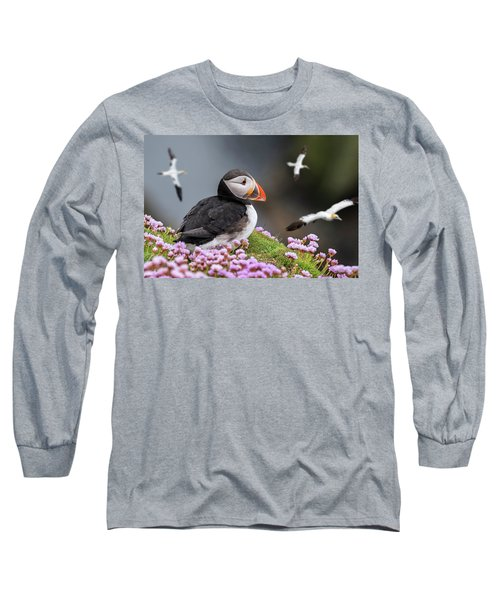 Atlantic Puffin And Soaring Gannets Long Sleeve T-Shirt
