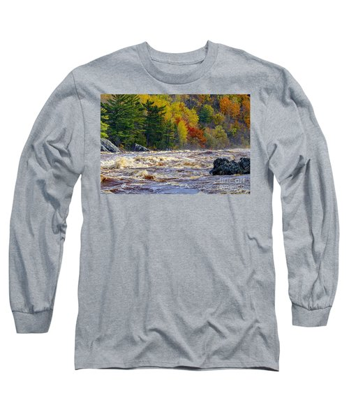 Autumn Colors And Rushing Rapids   Long Sleeve T-Shirt