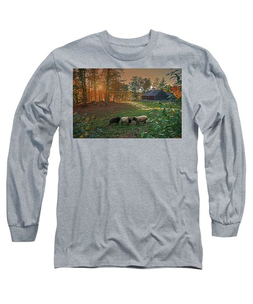 Long Sleeve T-Shirt featuring the photograph Autumn Sunset At The Old Farm by Wayne Marshall Chase