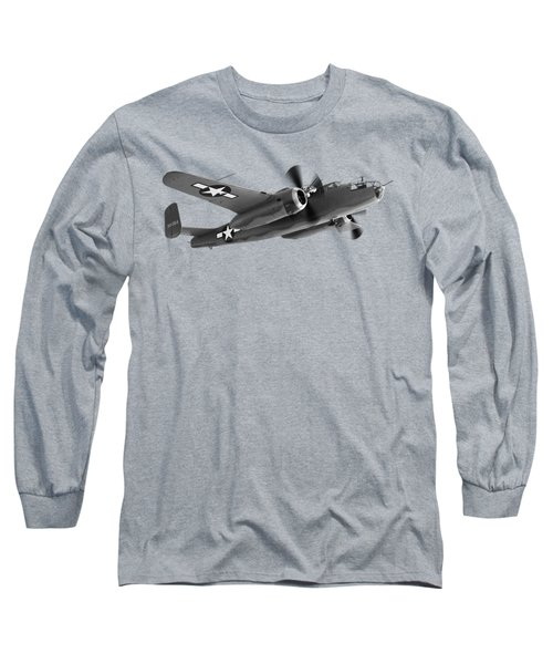 B-25 Mitchell In Black And White Long Sleeve T-Shirt