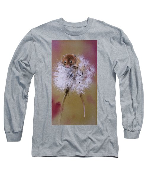 Baby Mouse On Dandelion Long Sleeve T-Shirt