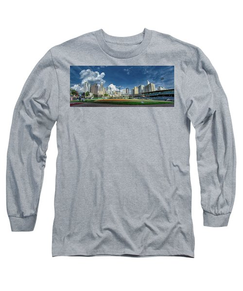 Bbt Baseball Charlotte Nc Knights Baseball Stadium And City Skyl Long Sleeve T-Shirt